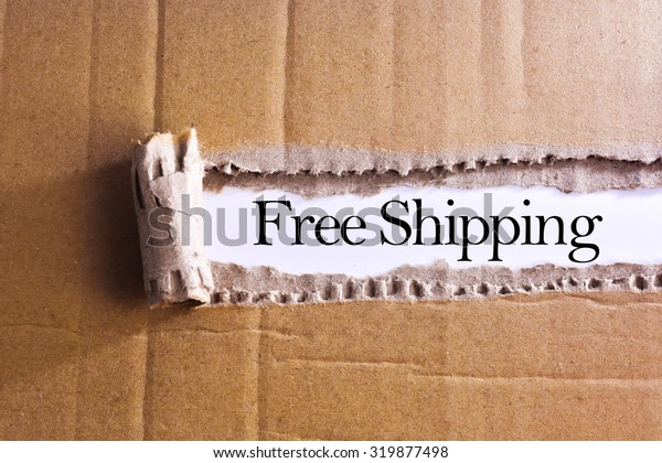 Torn paper box with word Free shipping