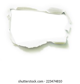 Torn paper isolated on white background.