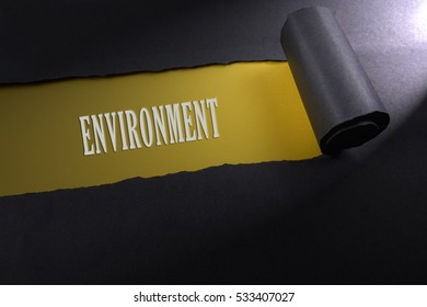 Torn paper with lighting render from right with word of environment . Occupational safety & health concept.