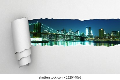 torn paper and night city