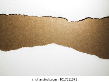 Torn paper with space for text over the brown cardboard background