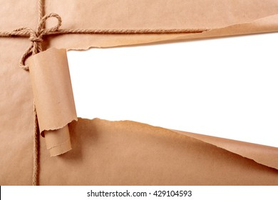 Torn paper strip background, mail package, copy space