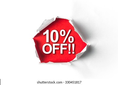 Torn paper with a word 10% Off