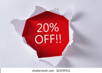 """Torn Paper With Word """"20% OFF"""""""
