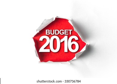 Torn paper with a word Budget 2016