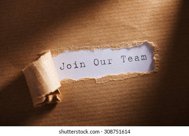 torn paper with word Join our team
