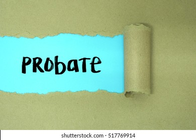 torn paper with word probate