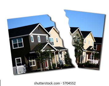 Torn Photo Illustration of Mortgage Break Down