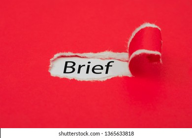 Torn red paper revealing the word Brief. Business concept. - Shutterstock ID 1365633818