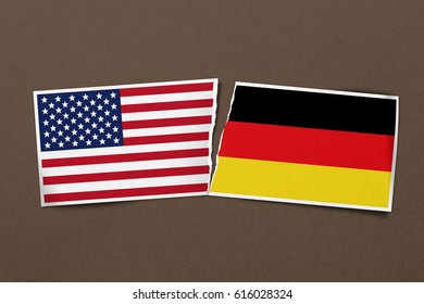 A torn relationship between USA and Germany shown on this paper design concept.