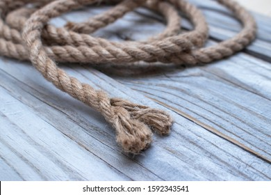 Torn rope with a ragged end.
