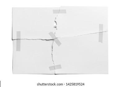 Torn sheet of paper glued with adhesive tape, isolated on white background