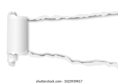Torn, snatched hole in sheet of white paper. Template paper design.