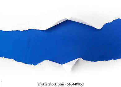 torn white paper on blue background. Cocept for autism awareness day. Break barriers together for autism.