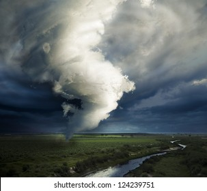 Tornado about to make damage