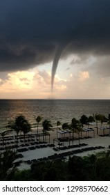 Tornado approaching the Mexican coasts in Cancun, Mexico.