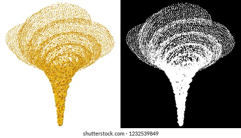 Tornado corn kernels on a white background with a mask for cutting