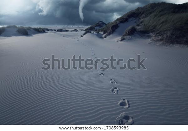 Tornado destroys coast. Footprints in the Sand