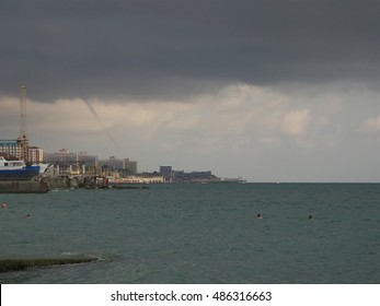 Tornado on the Black Sea and storm clouds over the coast, Sochi, Russia, August 31, 2016