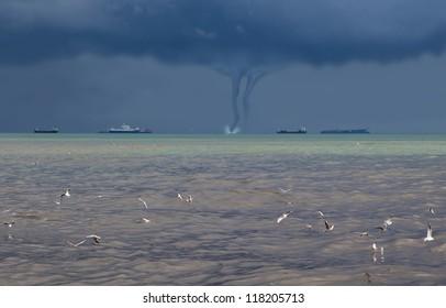 tornado over the sea