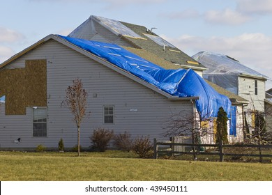 Tornado Storm Damage - Catastrophic Wind Damage from a Midwest Tornado V