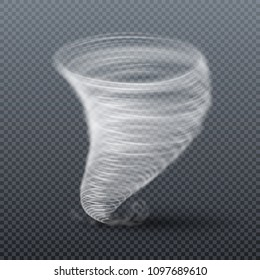 Tornado storm isolated. Realistic twister illustration. Tornado cyclone swirl, twister whirlwind hurricane