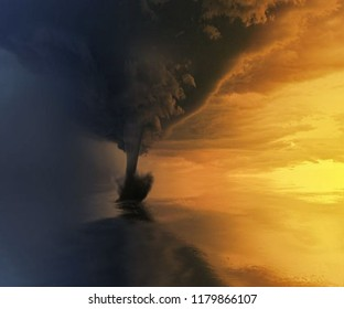 Tornado, whirlwind in action