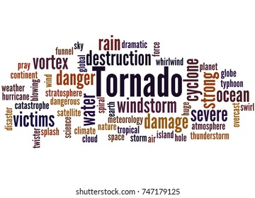 Tornado, word cloud concept on white background.