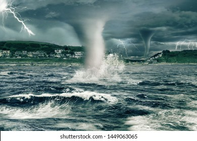 Tornadoes devastate land and oceans. Extreme weather and climate change concept.
