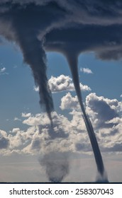 Tornados over mediterranean sea in a sunny winter day