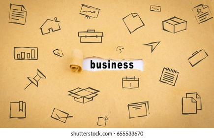 Torn-up paper labeled business
