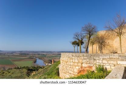 TORO, SPAIN - APRIL 17, 2018: Alcazar fortress overlooking the Duero river in Toro, Spain