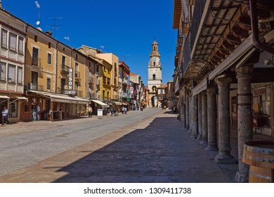 Toro, Spain - March 10, 2017: Street of the city of Toro (Zamora)  with the Clock Tower