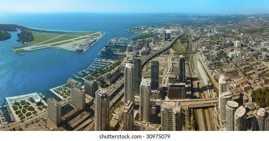 Toronto aerial panoramic photo, urban scene