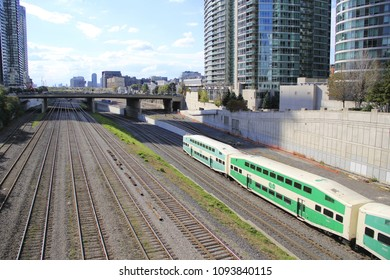 TORONTO - APRIL 23: Commuter passenger train stopped at Union Station in downtown Toronto, Ontario CAN on April 23, 2016.