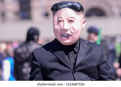 TORONTO - APRIL 28: A person wearing Kim Jong-un mask during the 420 Toronto 2018 event on  April 28 2018 in Toronto,Canada