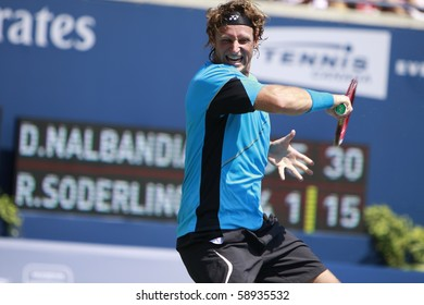 TORONTO- AUGUST 12: David Nalbandian plays against Robin Soderling  in the Rogers Cup 2010 on August 12, 2010 in Toronto, Canada.