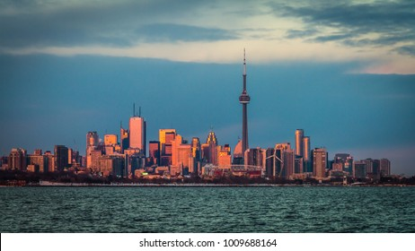 TORONTO - AUGUST 2016: Beautiful Toronto skyline with view of CN Tower and modern buildings at sunset