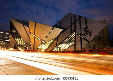 TORONTO - AUGUST 27: The Royal Ontario Museum at night on August 27, 2015 in Toronto, Canada. The controversial facade of the ROM was designed by architect Daniel Libeskind.