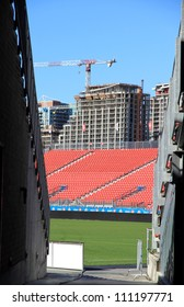 TORONTO - AUGUST 6: The inside of the BMO Field on August 6, 2012 in Toronto. The open-air structure can seat up to 21,140 spectators and is owned by the City of Toronto.