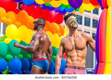 Toronto, CA - 3 July 2016: Two gogo dancers performing during the pride parade