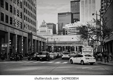 Toronto, Canada - 05 20 2018: Traffic on Bay street in downtown Toronto. Bay Street is the centre of Toronto's Financial District and is often used to refer to Canada's financial services industry.