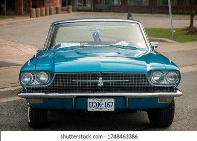 TORONTO, CANADA - 08 18 2018: 1967 Ford Thunderbird hardtop oldtimer car made by American automaker Ford Motor Company on display at the open air auto show Wheels on the Danforth