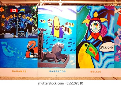 TORONTO, CANADA -10 NOV 2015- Murals painted through the Arts for Children and Youth organization for the 2015 Pan Am and Parapan Am Games on display at Toronto Pearson International Airport (YYZ).