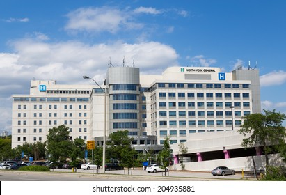 TORONTO, CANADA - 10TH JULY 2014: The outside of North York General Hospital during the day