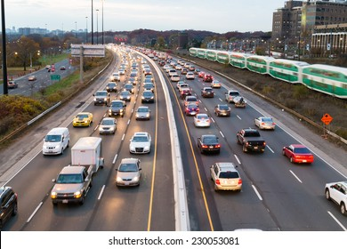 TORONTO, CANADA - 11TH NOVEMBER 2014: A view of traffic on the Gardiner Express at rush hour.
