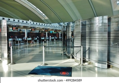 TORONTO, CANADA -14 AUGUST 2016- The Toronto Pearson International Airport (YYZ) is the largest and busiest airport in Canada.