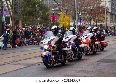 TORONTO, CANADA - 16TH NOVEMBER 2014: Toronto Police taking part in the Santa Claus Parade in Toronto