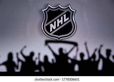 TORONTO, CANADA, 17. JULY: National Hockey LeagueFans Silhouette. Crowd celebrate and support the NHL hockey Team. Sport photo, edit space