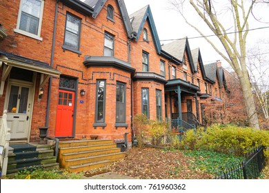 TORONTO, CANADA - 17 November 2017. Streets and houses of Cabbagetown, one of Toronto's most popular neighbourhoods.